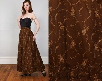 SALE- Victorian Antique Floral Skirt . Brown Floral Print