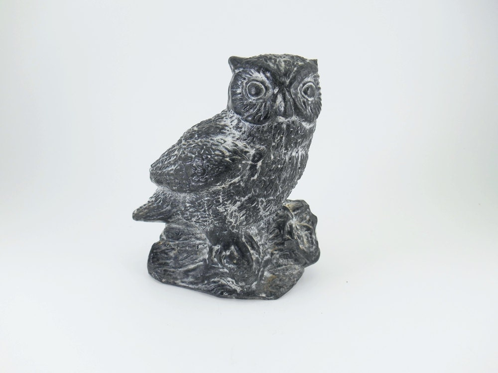 Large inch tall soapstone owl a wolf original hand carved