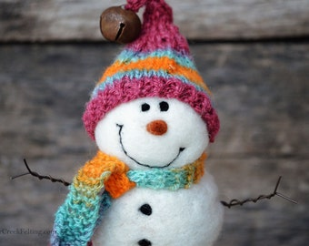 Needle Felt Snowman - Needle Felted Snowman - Christmas Snowman - Christmas Decoration - Christmas Decor -  Wool Snowman - Winter Décor -758