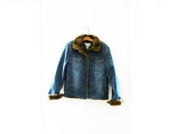 Vintage 80s Marvin Richards Blue Denim & Faux Fur Collar Jean Jacket Womens Size Small