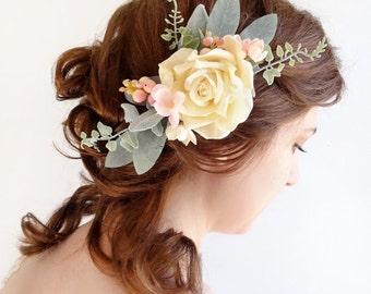 wedding headpiece, bridal headpiece, cream hair flower, bridal hair accessories, cream hair clip, pink peach hairpiece, rustic with berries