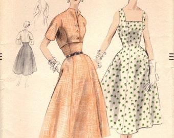 1950s Vogue 8223 UNCUT Vintage Sewing Pattern Misses Sundress, Cropped Jacket Size 14 Bust 32