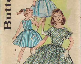 1960s Butterick 9356 Vintage Sewing Pattern Girls Party Dress, Full Skirt Dress Size 7