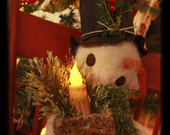 Folk Art Needle Felted Snowman