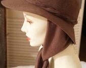 Vintage Dark Taupe Brown Wool Brimmed Winter Hat Attached Scarf