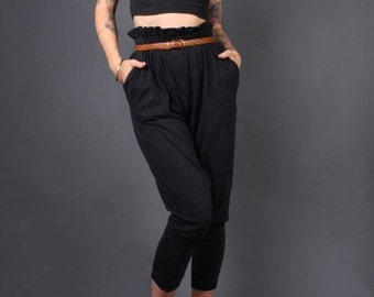 Vintage 80s Black Cotton Paper Bag Waist Slouch Pants - Size M