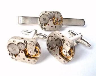 Steam Punk Watch Movement Cufflinks and Tie Clip Set - Clock Cufflinks, Watch Cufflinks, Cufflinks, Tie bar, Steam Punk Cufflinks