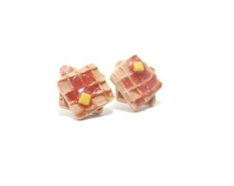 Waffle Earrings, Miniature Food Jewelry, Polymer Clay Food Jewelry