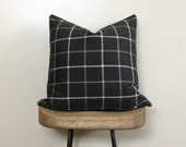 "20"" Throw Pillow  - Accent Pillow  - Designer Pillow in Charcoal Plaid Neutral"