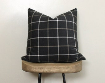 """20"""" Throw Pillow  - Accent Pillow  - Designer Pillow in Charcoal Plaid Neutral"""