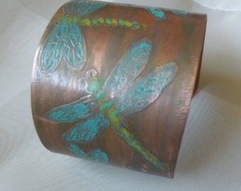 Etched Copper Cuff Bracelet  Turquoise Dragonflies