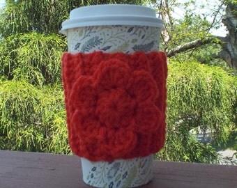 Bright Orange Cup Cozy, Crochet Coffee Sleeve with Flower, Coffee Cosy, Drink Cozy, Reusable Coffee Cozy