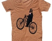 Unisex Monkey Bicycle Vneck TShirt, in Heather Rust Orange