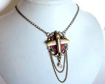 Airplane Necklace w crystals Antique brass art nouveau inspired a tribute to World War II for the Airship Captian in all of us