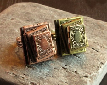 Book locket ring, stacked books ring, antique brass book locket, copper book locket, bookworm ring, book jewelry, gifts for bookworms