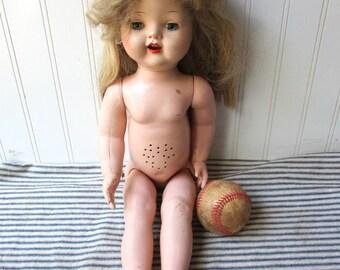 Vintage Saucy Walker TYPE doll unmarked hard plastic naked walker doll