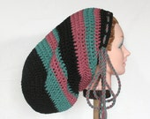 Large Crochet Mega Tam Sock Hat for Long Dreads Dreadlocks - Black with Windsor Green and Dusty Rose - Hats by Mike ©