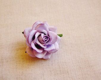 Lilac Sweetheart Rose Millinery flower Brooch Pin- wedding corsage boutonniere, paper jewelry, decoration, embellishment
