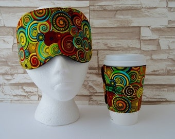 Eye Mask & Cup Cozy in a Retro Psychidellic print - READY To SHIP - You Pick Choice of 1 or as a set