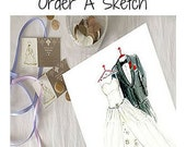 Wedding Gift To Bride From Groom - Dreamlines Wedding Dress Sketch [Gown And Suit]