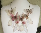 I Will Fly Away - Handmade Silk Organza Butterflies and Wings Necklace in Ivory and Pink Shades - One of a Kind