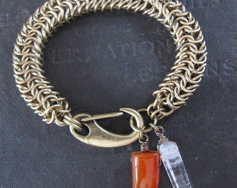 Statement Bracelet - Carnelian Tooth Quartz and Brass Chainmail