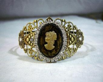Filigree Cuff Bracelet with Lady Cameo