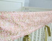 Pink and Metallic Gold Confetti Teething Rail Cover, Ready to Ship