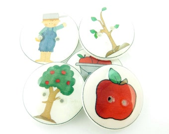 "5 Johnny Appleseed Buttons. Handmade Buttons.  3/4"" or 20 mm Apple Buttons. Sewing, Knitting, Crochet Accessories."
