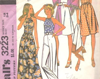 1970s McCalls 3223 Misses Halter Dress and Top and Fringed Shawl Pattern Quick Easy Womens Vintage Sewing Pattern Size 12 Bust 34