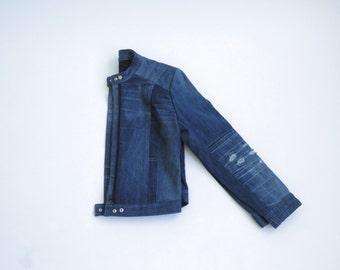 Large Distress moto jean jacket indigo wash
