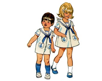 1970s Toddlers Sailor Romper and Dress Pattern Sailor Suit Bell Bottom Jumpsuit Tent Dress Simplicity 9947 Size 2 Vintage Sewing Pattern