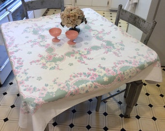 Vintage Tablecloth Dreamy Garden of Pink & Yellow Floral Garland Wreaths