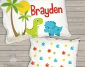 """Toddler Travel Pillow - dinosaur personalized daycare / pre school nap pillow 12 x 16""""  -  TPDSR"""