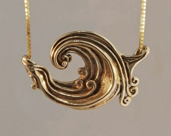 Wave Necklace Gold Rip Curl Wave Pendant Surfer Jewelry Wave Jewelry  Gold Wave Ocean Jewelry Gold Wave Great Wave Wave Jewelry
