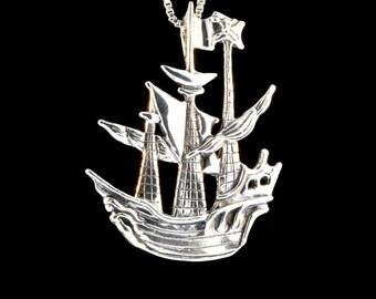 Pirate Ship Necklace Pirate Ship Pendant Pirate Jewelry Steampunk Necklace Steampunk Jewelry