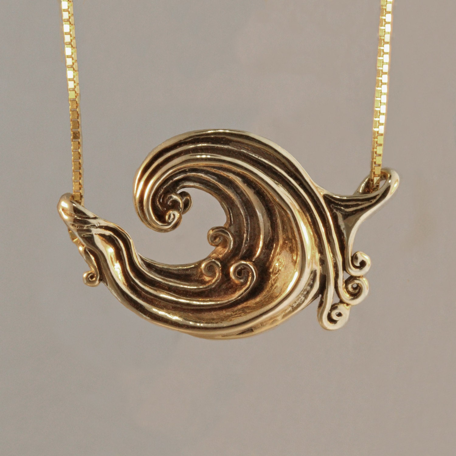 Wave Necklace Gold Rip Curl Wave Pendant Surfer Jewelry Wave