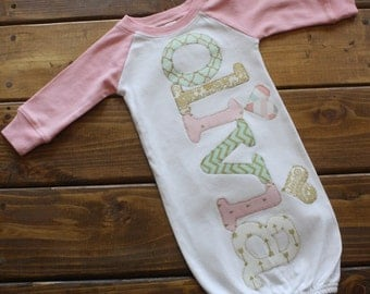 Personalized Newborn Gown Girl, Hospital Going Home Outfit, Baby Girl Gift, Gold Pink Mint Baby Shower Gift, Newborn Outfit, Baseball Raglan