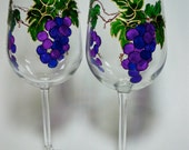 Large Grape Cluster Hand Painted Wine Glasses Set of 2