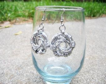 Mailstorm Spiral Earrings - Lightweight Aluminum Chainmail
