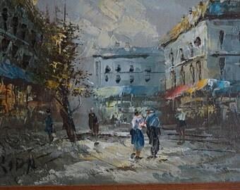 Vintage Oil Painting of Street Scene