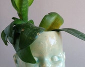 Baby Doll Head Planter in Aqua - flower pot
