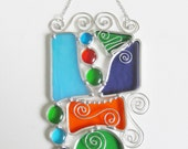 Abstract Stained Glass Suncatcher Home Decor Glass Art Lead Free