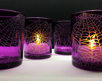 Webs 4 Glass Votive Candle Holders Halloween Party Decorations Engraved 'Webs' Includes 4 LED Tealights