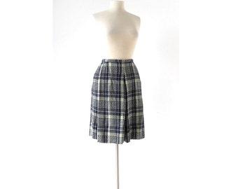 Blue Plaid Skirt / 1960s Skirt / Pocket Skirt / Evan Picone / Wool Plaid Skirt / 27W Small