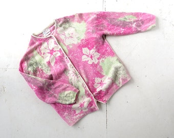 Vintage 60s Sweater | Pink Floral Cardigan | Darlene Sweater | Small S