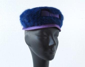 Vintage 60s Hat / Blue Fur Hat / Pillbox Hat