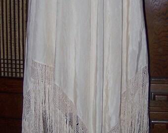 Vintage Ivory Large Silk Fringed Piano Shawl Wedding Boudoir Costume