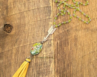 Arrow Tassel Necklace festival ready fashion rustic country girl style boho southwestern chic spear mustard yellow green