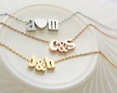 Lowercase Initials Necklace - Rose Gold, Gold or Silver Initial Tiny Ampersand Personalized Bridesmaid Gift Bridal Custom Wedding Love
